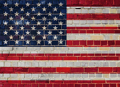 Digital Art - America Flag On A Brick Wall by Steve Ball