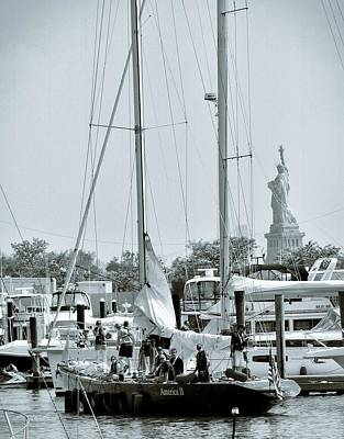 Nyc Photograph - America II And The Statue Of Liberty by Sandy Taylor