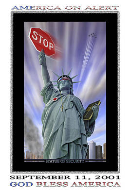 Signed Digital Art - America On Alert II by Mike McGlothlen