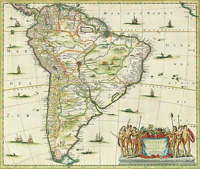 Treasure Map Painting - America Pars Meridionalis by Joannes Jansson
