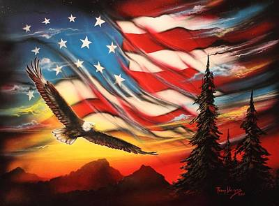 American Eagle Painting - America by Tony Vegas