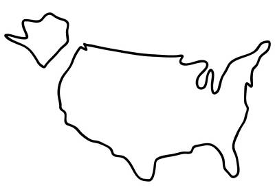 United Drawing - america USA map by Lineamentum
