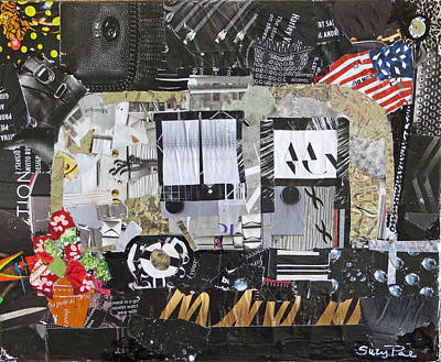 Torn Paper Painting - American Air Stream by Suzy Pal Powell