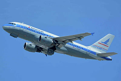 Print featuring the photograph American Airbus A319-0112 N744p Piedmont Pacemaker Los Angeles International Airport May 3 20 by Brian Lockett