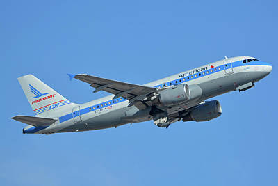 Photograph - American Airbus A319-0112 N744p Piedmont Pacemaker Phoenix Sky Harbor October 16 2017 by Brian Lockett