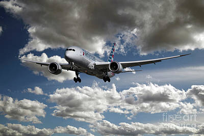Boeing 787 Dreamliner Digital Art - American Airlines Boeing 787-8 by J Biggadike