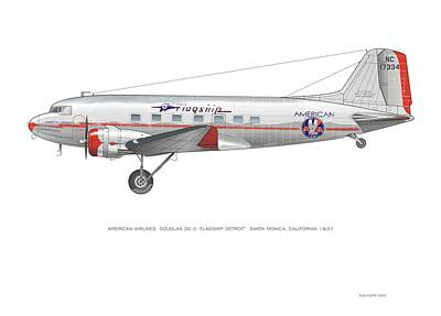 Digital Art - American Airlines Dc-3 by Rick Blyseth