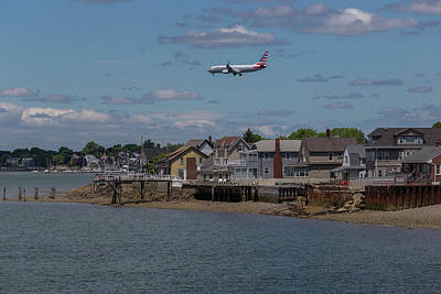 Photograph - American Airlines Lands Over Winthrop Massachusetts by Brian MacLean