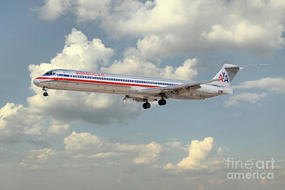 Md Digital Art - American Airlines Md-80 by J Biggadike