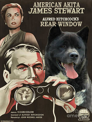 Painting - American Akita Art Canvas Print - Rear Window Movie Poster by Sandra Sij