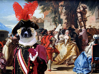 Painting - American Akita Art Canvas Print - The Carnival Dance by Sandra Sij