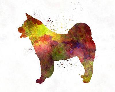 Japanese Dog Painting - American Akita In Watercolor by Pablo Romero