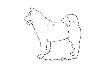 Japanese Dog Painting - American Akita Sketch by Pablo Romero