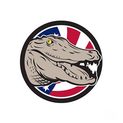 Alligator Digital Art - American Alligator Usa Flag Icon by Aloysius Patrimonio