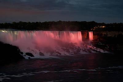 Photograph - American And Bridal Veil Falls At Night by Jeff Folger