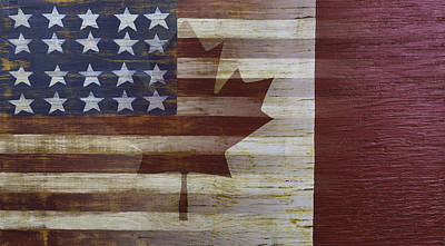 Maple Leaf Art Photograph - American And Canadian Flag by Garry Gay