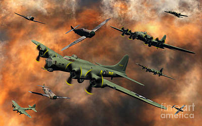 Inferno Digital Art - American And German Aircraft Battle by Mark Stevenson