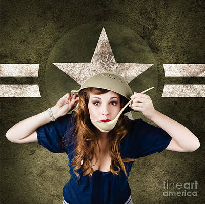 American Army Pinup Girl. Grunge Fashion Style Art Print by Jorgo Photography - Wall Art Gallery