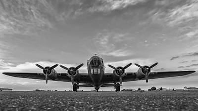 Photograph - American B -17 Flying Fortress Black And White  by Terry DeLuco