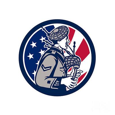 Digital Art - American Bagpiper Usa Flag Icon by Aloysius Patrimonio