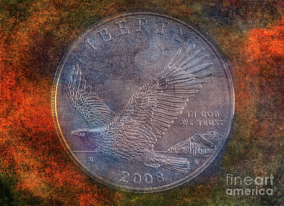 Digital Art - American Bald Eagle Silver Dollar by Randy Steele
