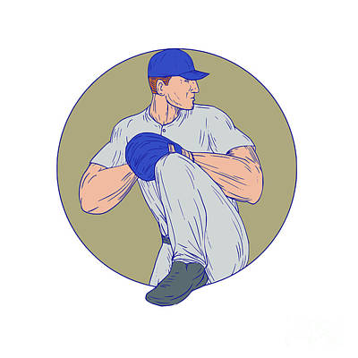 Hand Thrown Digital Art - American Baseball Pitcher Throw Ball Circle Drawing by Aloysius Patrimonio