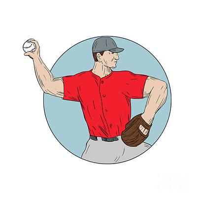 Hand Thrown Digital Art - American Baseball Pitcher Throwing Ball Circle Drawing by Aloysius Patrimonio