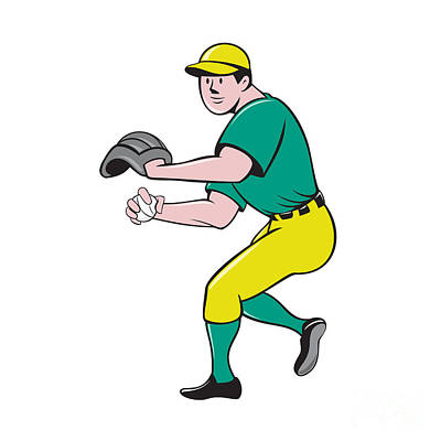 Outfielder Digital Art - American Baseball Player Outfielder Throwing Ball Cartoon by Aloysius Patrimonio