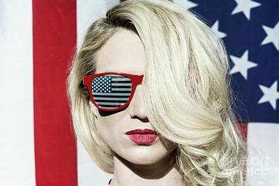 Photograph - American Flag And Cool Blonde by Amyn Nasser