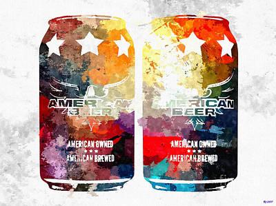 Beer Mixed Media - American Beer Cans by Daniel Janda