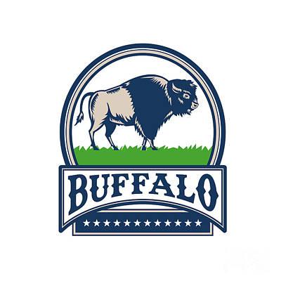 American Bison Buffallo Banner Circle Woodcut Art Print