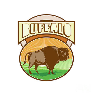 American Bison Buffalo Oval Woodcut Art Print