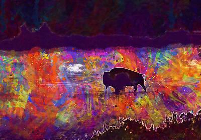 Bison Digital Art - American Bison, Buffalo by PixBreak Art