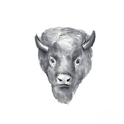 American Bison Head Watercolor Art Print