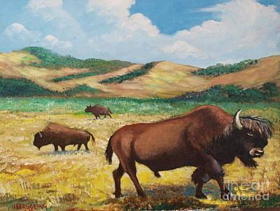 Painting - American Bison by Jean Pierre Bergoeing