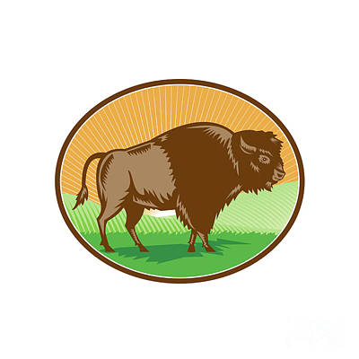 American Bison Digital Art - American Bison Oval Woodcut by Aloysius Patrimonio