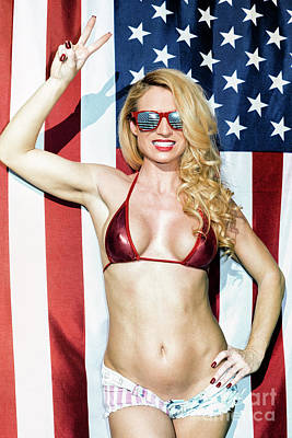 Photograph - American Blonde Peace Salute by Amyn Nasser