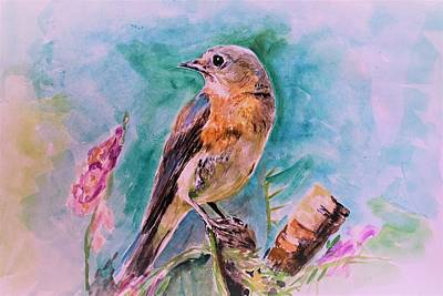 Painting - American Blue Bird by Khalid Saeed