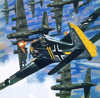 Bomber Painting - American Bombing Raid Over Europe In July 1943 by Wilf Hardy