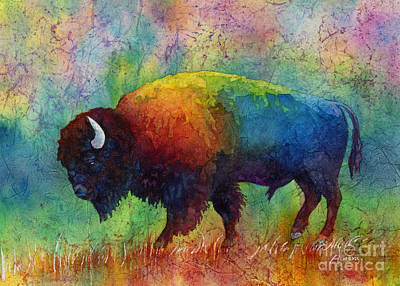 Batik Painting - American Buffalo 6 by Hailey E Herrera