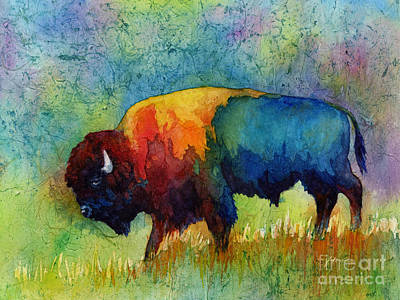 Abstract Ink Paintings In Color - American Buffalo III by Hailey E Herrera
