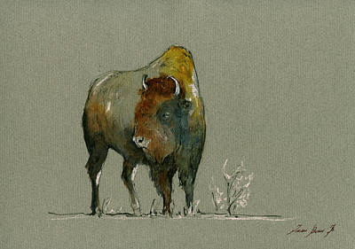 Bison Wall Art - Painting - American Buffalo by Juan  Bosco