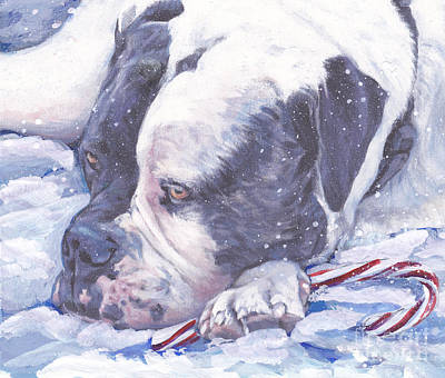 Painting - American Bulldog Christmas by Lee Ann Shepard