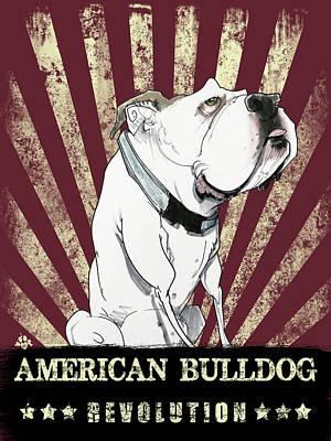 Landmarks Drawings - American Bulldog by John LaFree