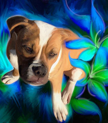 Painting - American Bulldog by Julianne  Ososke