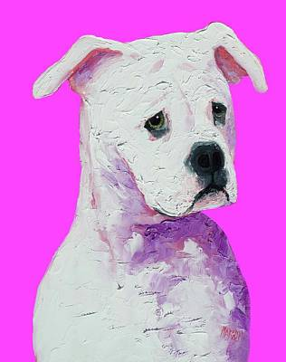 Landmarks Painting Royalty Free Images - American Bulldog on pink Royalty-Free Image by Jan Matson