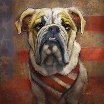 Pitbull Painting - American Bulldog by Sean ODaniels