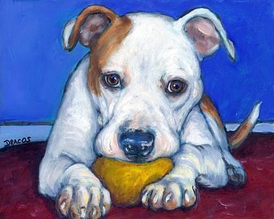 American Bulldog With Yellow Ball Art Print by Dottie Dracos