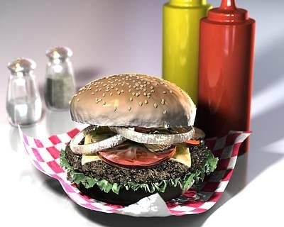 American Burger Art Print by Nathan Ryan