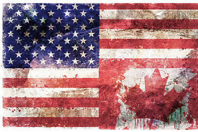 Red White And Blue Digital Art - American Canadian Tattered Flag by Az Jackson